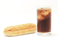 Hotdog and soft drink Royalty Free Stock Images
