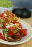 Hotdog som överträffas med stekte mealworms Royaltyfri Bild