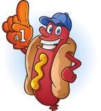 Hotdog-Sport-Fan-Karikatur Lizenzfreie Stockfotos