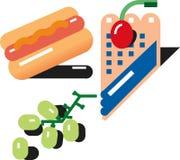 Hotdog-Trauben-Heidelbeerkuchen stock abbildung