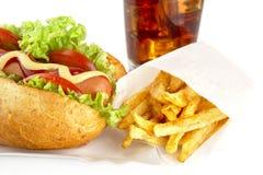 Hotdog on tray with cola on white background Stock Photos