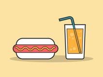 Hotdog und ein Glas Soda Lizenzfreies Stockfoto