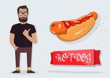 Hotdog und ein Mann für die Dekoration von Cafés, Schnellimbiß Stockfotografie
