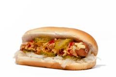 Hotdog/varmkorv Sida-sikt som isoleras på vit Royaltyfria Bilder