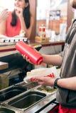 Hotdog-Verkäufer Stockfoto