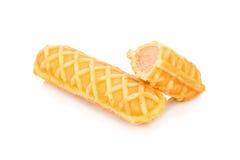 Hotdog-Waffeln auf einem Stock Lizenzfreies Stockfoto