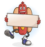 Hotdog-Zeichentrickfilm-Figur, die ein Zeichen hält Lizenzfreie Stockbilder