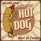 Hotdogaffiche Stock Foto
