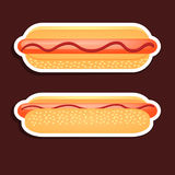 Hotdogdesign über grauem Hintergrund Lizenzfreie Stockfotos