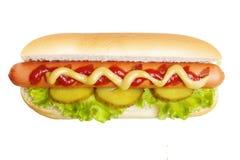 Hotdoggrill met mosterd en ketchup Stock Afbeelding