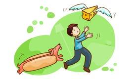 Hotdogjakt en man- och smörfluga Royaltyfri Bild