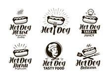 Hotdoglogo oder -aufkleber Schnellimbiß, Emblem essend Typografische Designvektorillustration lizenzfreie abbildung