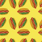 Hotdogpatroon Hand getrokken illustratie Heldere beeldverhaalillustratie voor kaartontwerp, menu, stof en behang royalty-vrije illustratie
