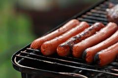 Hotdogs bij de grill Royalty-vrije Stock Afbeeldingen