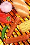 Hotdogs, broodje en veggies bij de barbecuegrill Stock Afbeeldingen