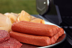 Hotdogs, burgers, chicken for bbq Stock Photography