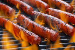 Hotdogs on a Flaming Hot Barbecue Grill Royalty Free Stock Photo