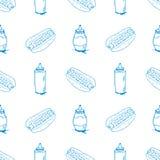 Hotdogs Hand Drawn Seamless Pattern Stock Images