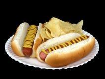 Hotdogs met Mosterd #1 Royalty-vrije Stock Foto's