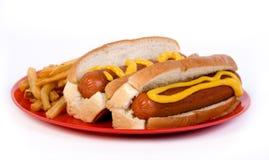 Hotdogs met mosterd royalty-vrije stock foto's