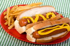 Hotdogs with mustard Royalty Free Stock Photography