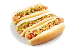 Hotdogs op plaat Stock Fotografie