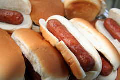 Hotdogs prontos para serir Foto de Stock Royalty Free