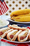 Hotdogs and Side Dishes Royalty Free Stock Photos
