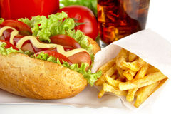 Hotdogs on tray with cola on white background Royalty Free Stock Photo