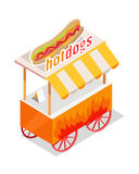 Hotdogs Trolley Isometric Projection Style Design. Hotdogs trolley in isometric projection style design icon. Street fast food concept. Food truck with umbrella stock illustration