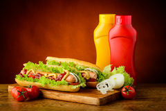 Hotdogs and vegetables Royalty Free Stock Photo