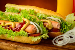 Hotdogs with vegetables Royalty Free Stock Image