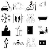 Hotel and travel symbols Royalty Free Stock Photo