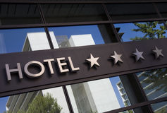 Hotel. Detail of a four stars hotel with reflection