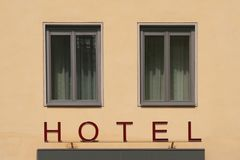 Hotel. Facade of a little hotel in the heart of Vienna, Austria next to St.Stephen's Cathedral Stock Photo