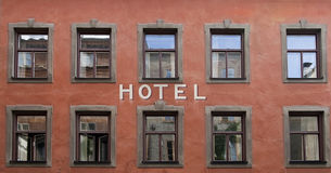 Hotel. Exterior with reflections in windows stock image