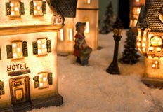 Hotel. Figurine model in a winter environment, resembling an old city stock image