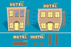 Hotel. Cartoon illustration of small hotel in 2 versions: with and without free rooms. You can edit the signs. No transparency and gradients used stock illustration