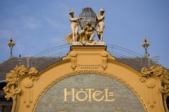 The hotel. Prague hotel in art nouveau style Royalty Free Stock Photography