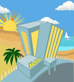 Hotel. A hotel on a beach stock illustration