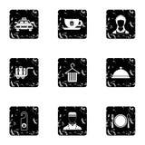 Hotel accommodation icons set, grunge style Stock Photos