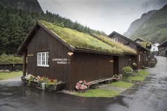 Hotel accommodation near the Magma Geo Park outside Stavanger Norway. NnThe roof is covered in soils and grass to help with thermal efficiency as a lot of royalty free stock image