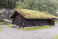 Hotel accommodation near the Magma Geo Park outside Stavanger Norway. The roof is covered in soils and grass to help with thermal efficiency as a lot of houses stock photo