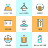 Hotel accommodation services line icons set Stock Photography