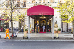Hotel Adlon Kempinski with unidentified people. BERLIN, GERMANY - OCT 28, 2014: Hotel Adlon Kempinski with unidentified people. Its a luxury hotel on Unter den Royalty Free Stock Images