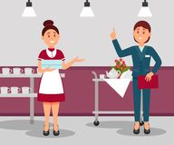 Hotel administrator giving instructions to maid. Manager in formal suit. Young worker holding clean towels. Flat vector vector illustration