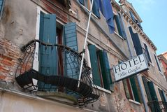 Hotel Alle Guglie, Cannaregio, Venetië, Italië royalty-vrije stock fotografie