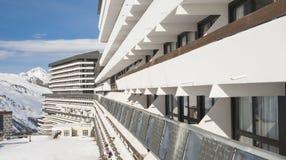 Hotel in an alpine ski resort Stock Images
