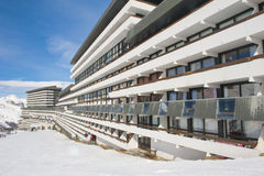 Hotel in an alpine ski resort Royalty Free Stock Photo