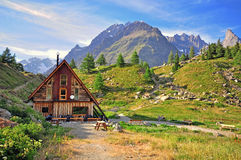 Hotel in alps Stock Images